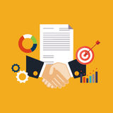 Deal, shaking hands vector illustration. Flat style Stock Photography
