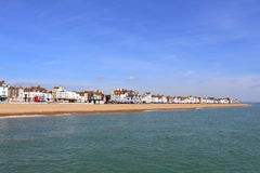 Deal town Kent United Kingdom. English Channel,the long pebble beach and  beach-side buildings of Deal town. Deal is a town in Kent, England which lies on the Royalty Free Stock Images