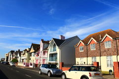 Deal town street Kent United Kingdom. Nice houses at The Marina street in Deal.Deal is a town in Kent, England which lies on the English Channel, eight miles Royalty Free Stock Photo