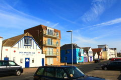 Deal town street Kent United Kingdom. Picturesque houses at The Marina street in Deal.Deal is a town in Kent, England which lies on the English Channel, eight Stock Images