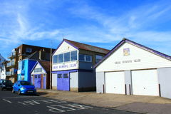 Deal town street Kent United Kingdom. Sports clubs buildings at the Marina street in Deal.Deal is a town in Kent, England which lies on the English Channel Stock Images