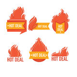 Deal. Vector collection of fire forms and frames for your text Stock Photos