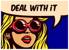Deal with it! Vintage pop art comic book imperturbable indifferent woman with soundglasses vector illustration. Deal with it! Vintage pop art comic book panel Royalty Free Stock Photos