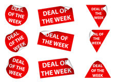 Deal Of The Week. Set of 9 Deal Of The Week labels. Available in jpeg and eps8 formats Stock Images