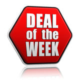 Deal of the week in red hexagon stock illustration