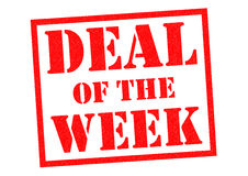 DEAL OF THE WEEK. Red Rubber Stamp over a white background Stock Images