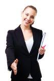 Deal - woman smile and handshake Stock Image