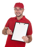 Dealer with blank clipboard and red uniform Royalty Free Stock Photography