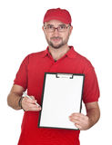 Dealer with blank clipboard and red uniform Royalty Free Stock Image