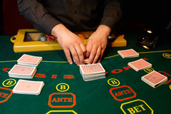 The dealer deals the cards. In a casino Royalty Free Stock Photography