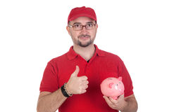Dealer with moneybox saying OK Stock Photo