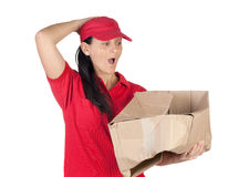 Dealer scared for having damaged the box Royalty Free Stock Photo