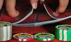 Dealer Shuffling Card Closeup Stock Photo