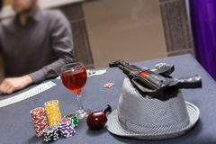 Dealer spreading the deck at poker game Royalty Free Stock Image