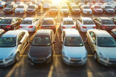 Dealer Vehicles in Stock. Brand New Cars Awaiting Clients on the Dealer Parking Lot. New Cars Section stock image