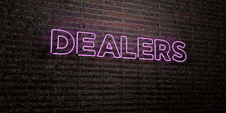 DEALERS -Realistic Neon Sign on Brick Wall background - 3D rendered royalty free stock image. Can be used for online banner ads and direct mailers Stock Images