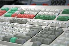 Dealing desk keyboard. White dealing desk keyboard at angle Royalty Free Stock Images