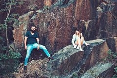 Dealing with difficulties. woman and bearded man on natural landscape. Couple in love on summer vacation. Couple. Dealing with difficulties. women and bearded royalty free stock photography