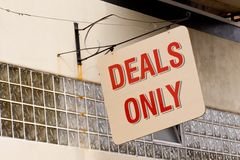 Deals Only. Photo of a sign for deals only royalty free stock photos