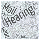 Are Deals on BTE Hearing Aids by Mail Too Good To Be True word cloud concept  background. Text Royalty Free Stock Photography