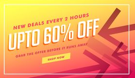 Deals and discount banner and voucher design with arrow style Stock Image