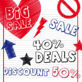 Deals drawing. With sign over notebook.  illustration Royalty Free Stock Image