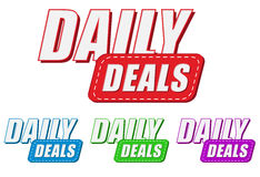 Daily deals, four colors labels Royalty Free Stock Photos