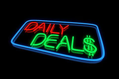 Daily Deals. In Neon Lights Stock Image