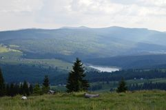 Dealu Botii. Near Cluj, is a village named Dealu Botii. It has a awsome view over the Belis lake Stock Photos