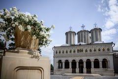 Dealul的Mitropoliei罗马尼亚家长式大教堂1665-1668,在布加勒斯特,罗马尼亚 在特写镜头的建筑细节在sunn 库存照片