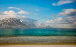 Deamy Haukland beach in Lofoten, Norway. Dreamy Haukland beach in Lofoten, Norway after the storm stock photography