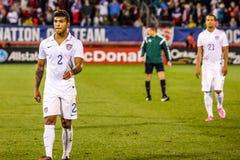 DeAndre Yedlin #2 on US International Friendly match. HARTFORD - OCTOBER 10:  DeAndre Yedlin #2 on US International Friendly match between US Men`s National Team Stock Images