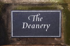 The Deanery sign, Lichfield. Royalty Free Stock Images