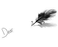 Dear. Ink handwriting with feather pen on white background Royalty Free Stock Image
