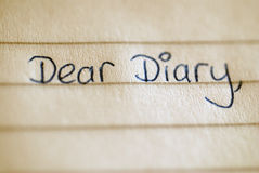 Dear Diary. The beginning of a child's diary entry Royalty Free Stock Images