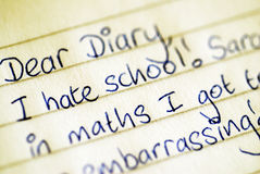 Dear Diary Confession. A teenager's diary entry Stock Photo