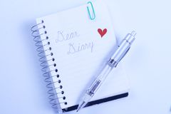 Dear Diary with pen Royalty Free Stock Images