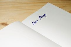 Dear Diary text written on agenda Royalty Free Stock Image