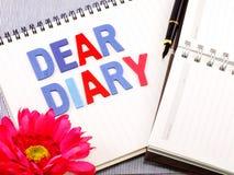 Dear diary word Stock Image
