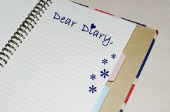 Dear Diary written on agenda Stock Photography