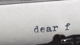 Dear friend - Typed on an old vintage typewriter. Close-up stock video