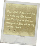 Dear god, letter to god for guidance and prayer. Stock Images