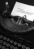 Dear John. Vintage typewriter with a Dear John letter being typed Royalty Free Stock Image