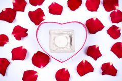 Dear love, roses, special occasions, along with condoms, background. Dear love roses special occasions along with condoms background royalty free stock photos