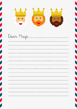 Dear Magi letter template. A4 sized white lined letter illustrated with Magi letterhead and text Dear Magi Royalty Free Stock Image