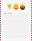 Dear Magi letterhead. Dear Magi illustrated letterhead on white US sized page Stock Image