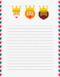Dear Magi letterhead illustration. US sized white lined page with illustrated Magi letterhead and red, white and blue border Royalty Free Stock Images