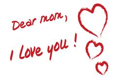 Dear mom I love you. Handwritten text heart dear mom card Stock Photo