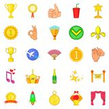 Dear prize icons set, cartoon style. Dear prize icons set. Cartoon set of 25 dear prize vector icons for web isolated on white background Stock Images