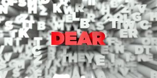 DEAR -  Red text on typography background - 3D rendered royalty free stock image Royalty Free Stock Photo